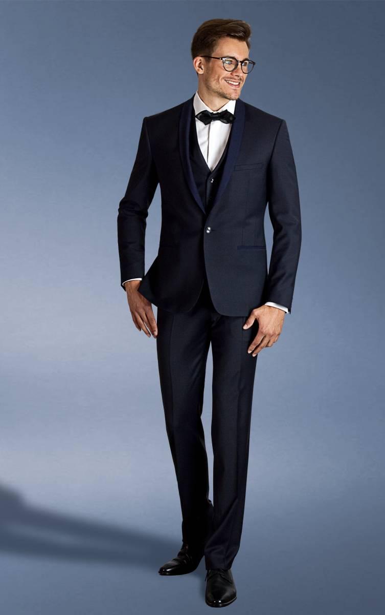 regarder handicaps structurels style attrayant Costume smark smoking bicolore bleu col bleu marine en laine ...